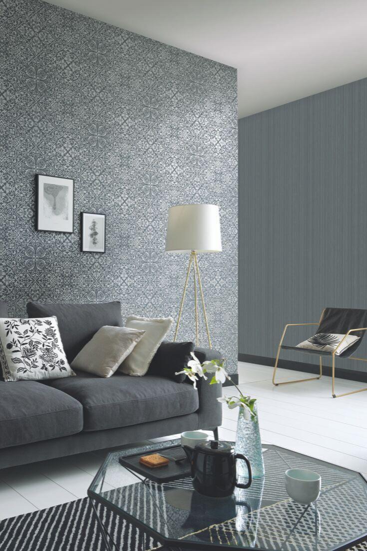 Glamourfaktor Grau Graue Tapeten Mit Unterschiedlichen Designs Lassen Sich Perfekt Miteinander Kombinieren Und Geben Raumen Einen L Tapete Grau Tapeten Design