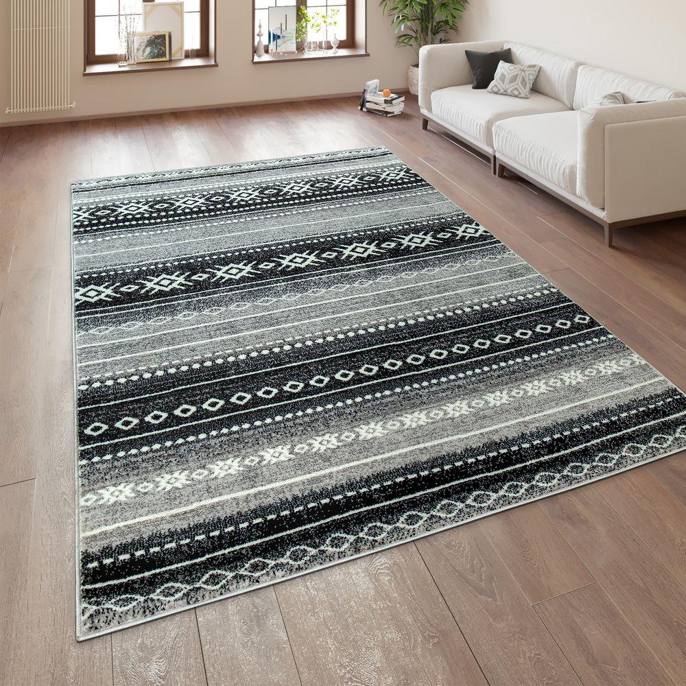 Kurzflor Teppich Ethno Muster Orientalisches Design Teppich Lila Teppich