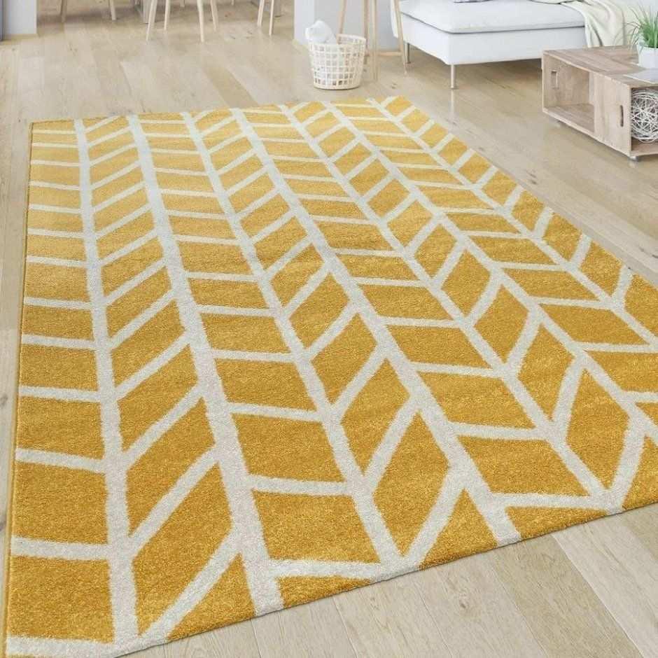 Teppich Wohnzimmer Muster Geometrisch Modern Kurzflor Streifen In Gelb Wei Teppiche Kurzflor Teppiche Gelb In 2020 Teppich Gelb Teppich Wohnzimmer Weisser Teppich