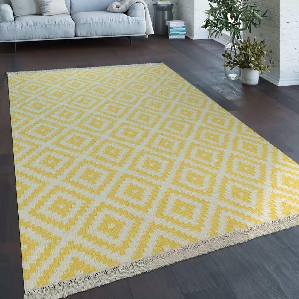 Handgewebter Trend Teppich Marokko Weiss Gelb Teppich Gelb Teppich Zottelteppich