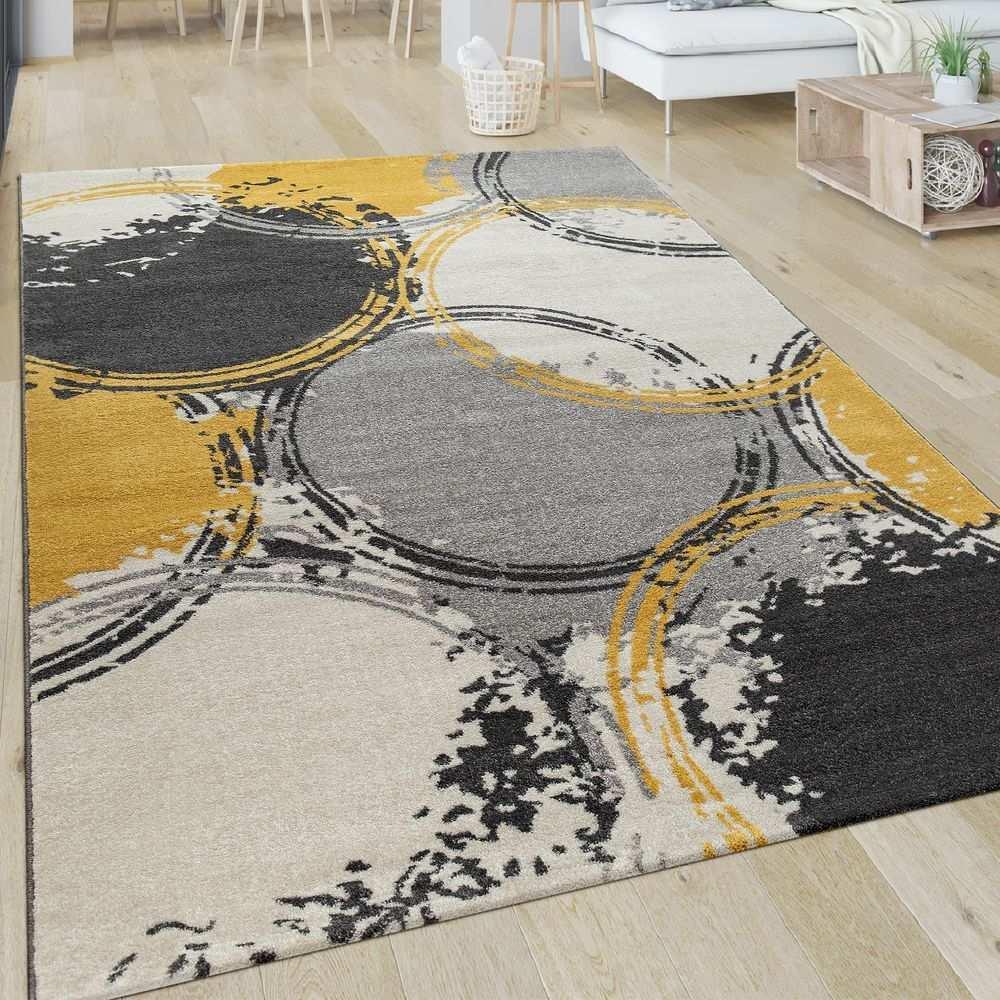 Kurzflor Teppich Kreise Gelb Grau Weiss In Diesem Teppich Im Trend Design Treffen Kuhle Grautone Auf Leuchtendes Senfgelb Teppich Gelb Teppich Teppichformen