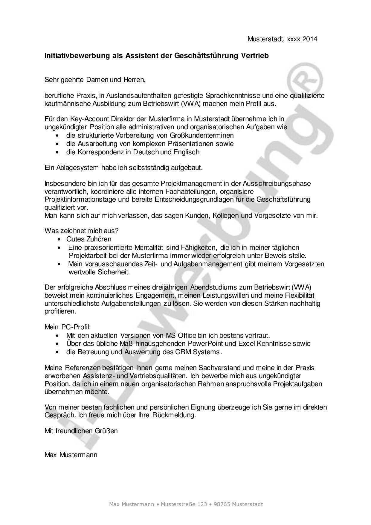 Initiativbewerbung Als Assistent Der Geschaftsfuhrung Vertrieb Beispiel Bewerbung Vorlagen Lebenslauf Bewerbung Schreiben