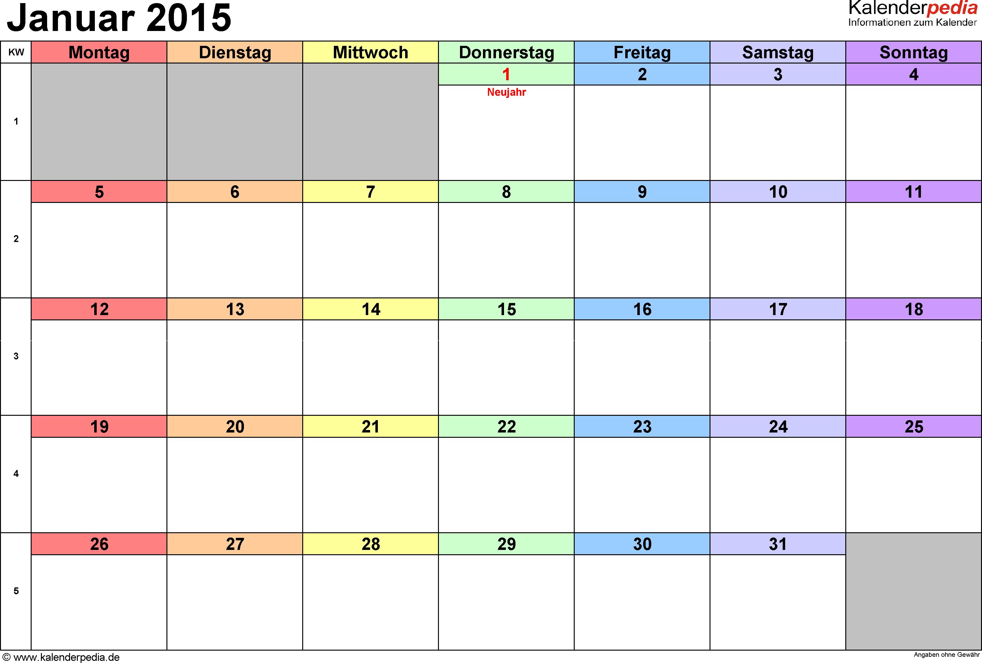Kalender Januar 2015 Als Excel Vorlagen Kalender Juli Kalender Druckbarer Kalender
