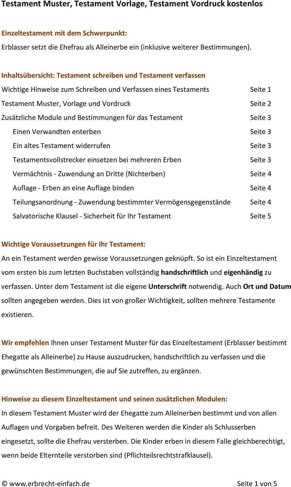 Testament Muster Testament Vorlage Testament Vordruck Kostenlos Pdf Free Download