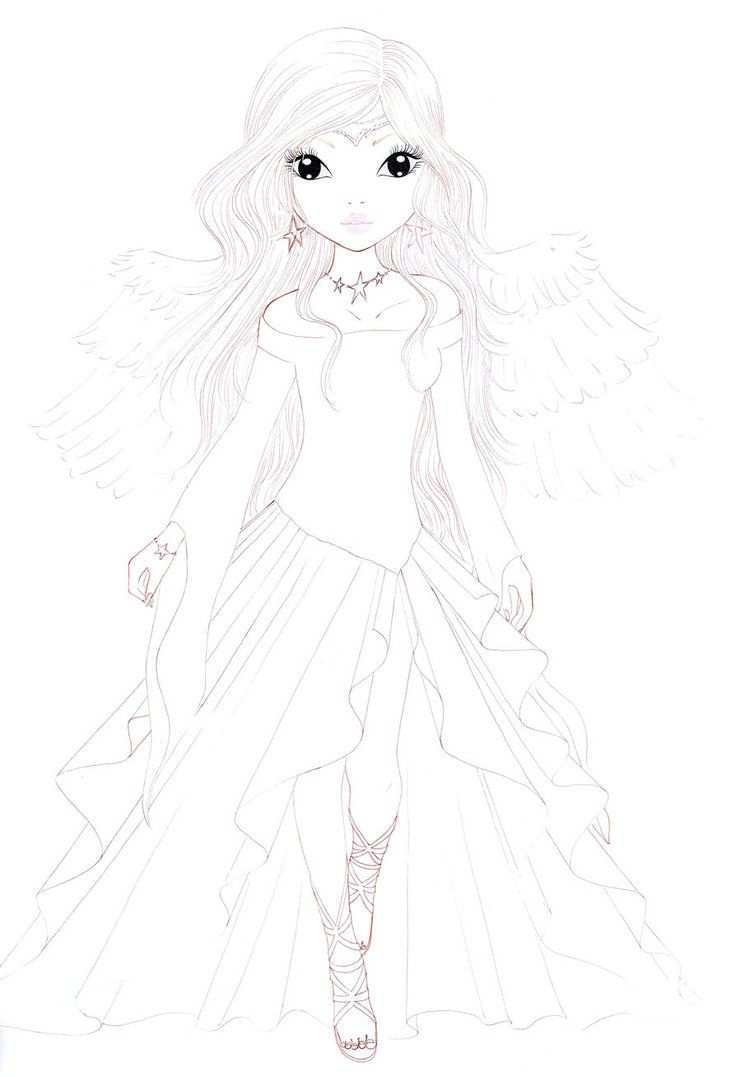 This Is Third And Last Part From My Contest On Www Top Model Biz A Lovely Christmas Angel Hope You Like It Model Drawing Doll Drawing Colorful Drawings
