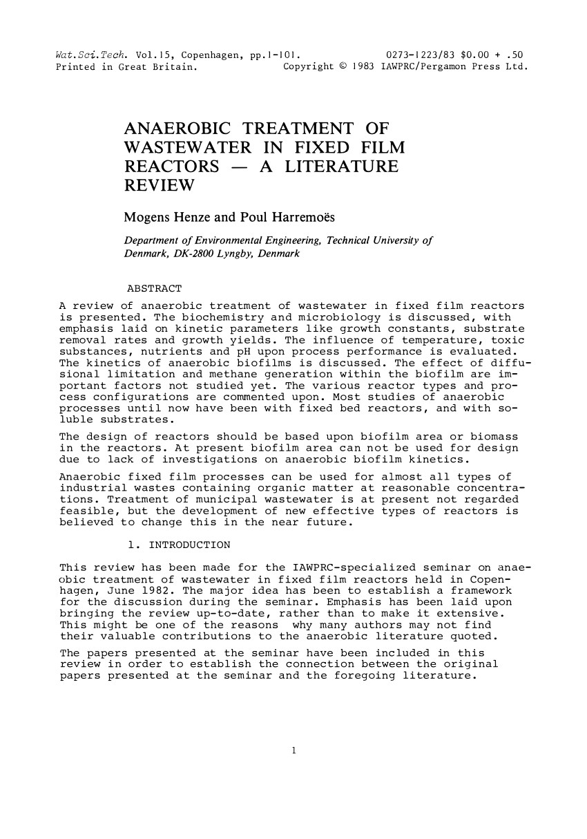 Pdf Anaerobic Treatment Of Waste Water In Fixed Film Reactors