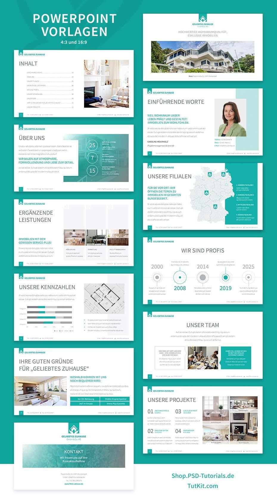 Elegantes Corporate Design Fur Den Bereich Immobilien Corporate Design Modern Powerpoint Design Powerpoint Design Templates