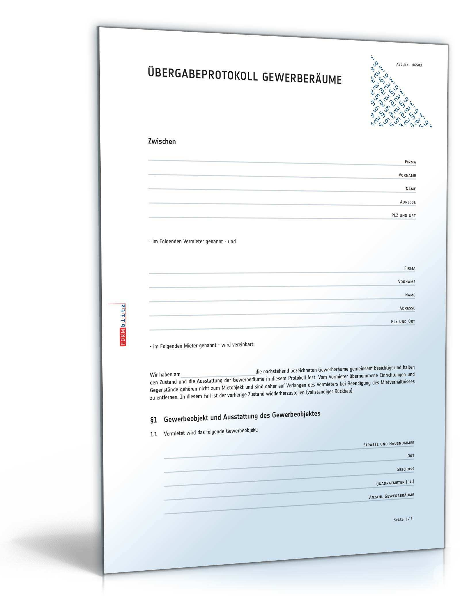 Ubergabeprotokoll Gewerberaume Muster Zum Download