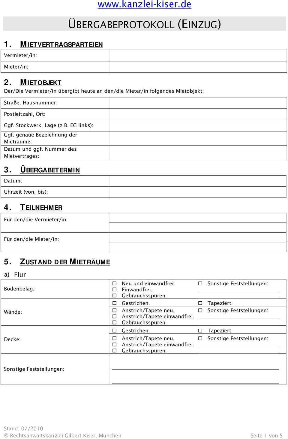 Ubergabeprotokoll Einzug Pdf Kostenfreier Download