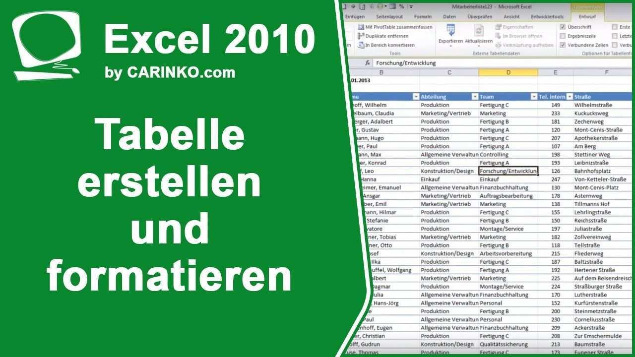 Excel Tabelle Erstellen Und Formatieren Tutorial Von Carinko Com Youtube Excel Tabelle Erstellen Tabelle Socken Stricken Tabelle