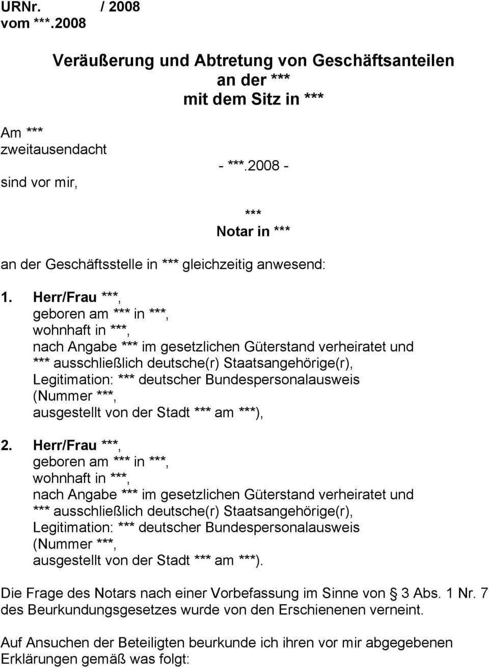 Verausserung Und Abtretung Von Geschaftsanteilen An Der Mit Dem Sitz In Pdf Free Download