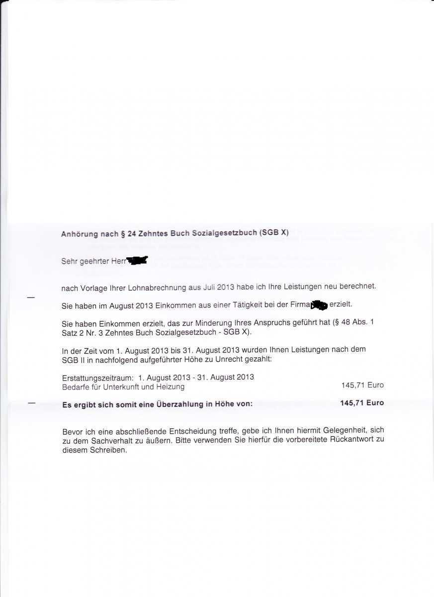 Uberzahlung Wg Job Anhorung Nach 24 Erwerbslosenforum Deutschland