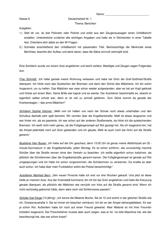 Bericht Uber Einen Unfall Klassenarbeit Mit Erwartungshorizont Unterrichtsmaterial Im Fach Deutsch Klassenarbeiten Erste Klasse Unfallbericht
