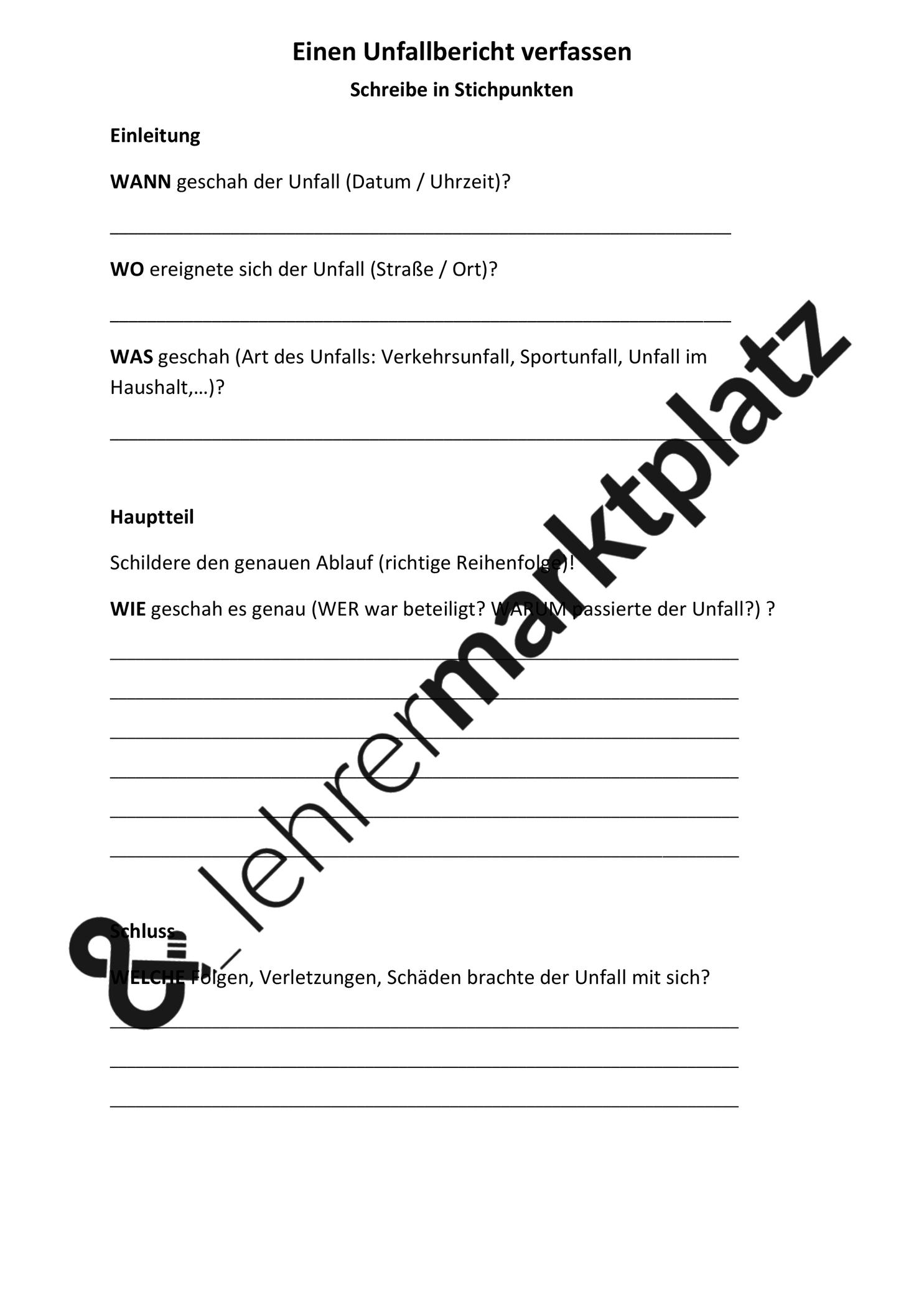 Unfallbericht Verschiedene Ubungsmaterialien Unterrichtsmaterial Im Fach Deutsch Unfallbericht Lernen Tipps Schule Unfall