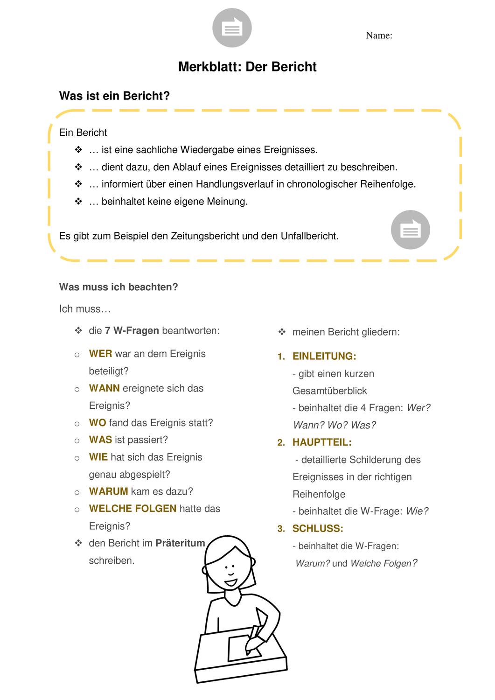 Ein Bericht Schreiben Unfallbericht Unterrichtsmaterial Im Fach Deutsch Unfallbericht Lernen Tipps Schule Zeitungsbericht