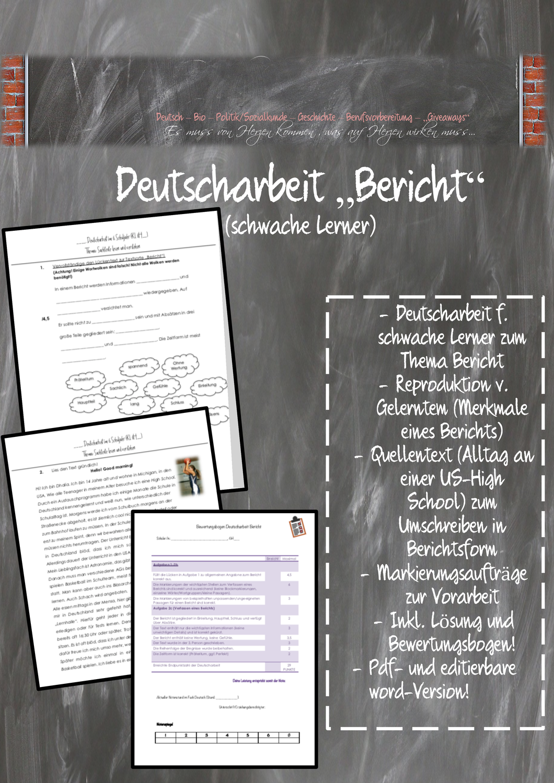 Deutscharbeit Arbeit Lernen Deutsch Unterricht