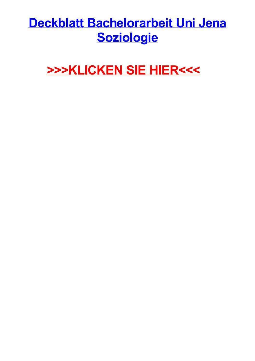 Deckblatt Bachelorarbeit Uni Jena Soziologie By Jackjyrz Issuu