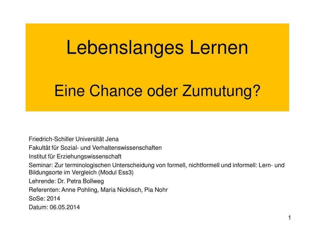 Ppt Lebenslanges Lernen Eine Chance Oder Zumutung Powerpoint Presentation Id 4632872