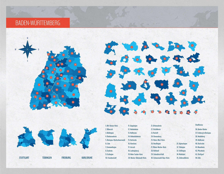 Landkarte Baden Wurttemberg Mit Landkreisen Landkarte Karten Wurttemberg