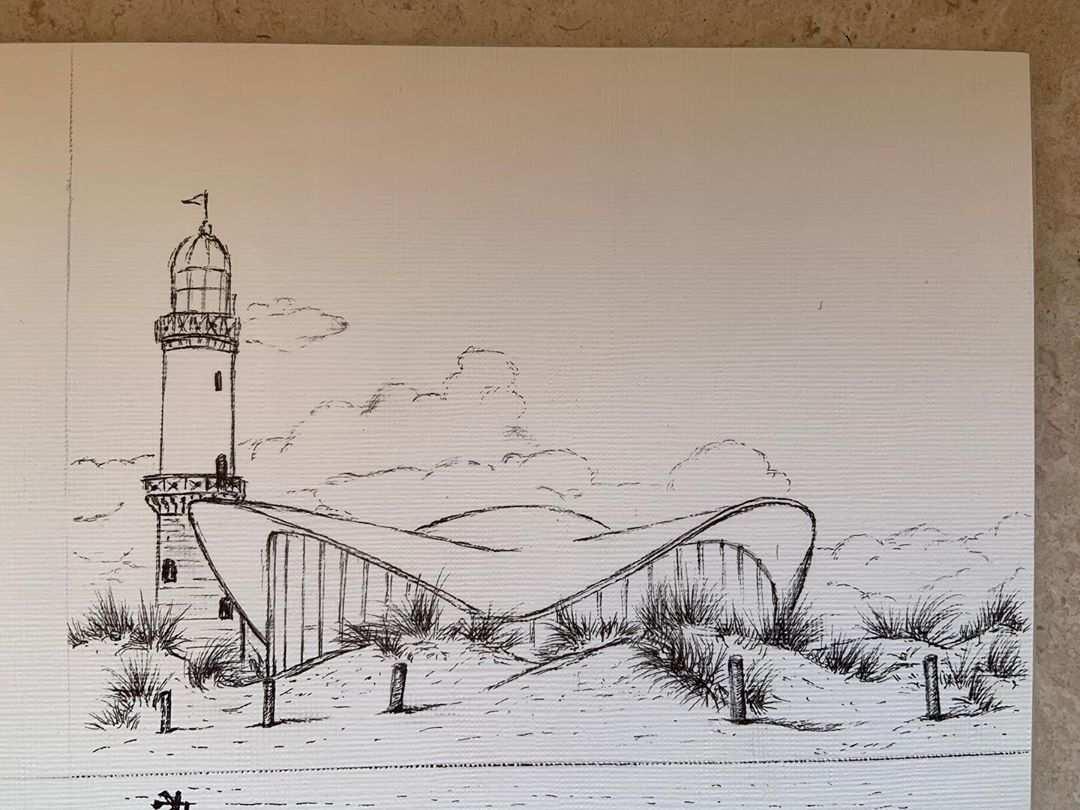 Regina Lenz On Instagram Warnemunde Durch Die Dunen Schauen Der Leuchtturm Und Der Teepott Empor 12x16cm W Leuchtturm Leuchtturm Warnemunde Turm