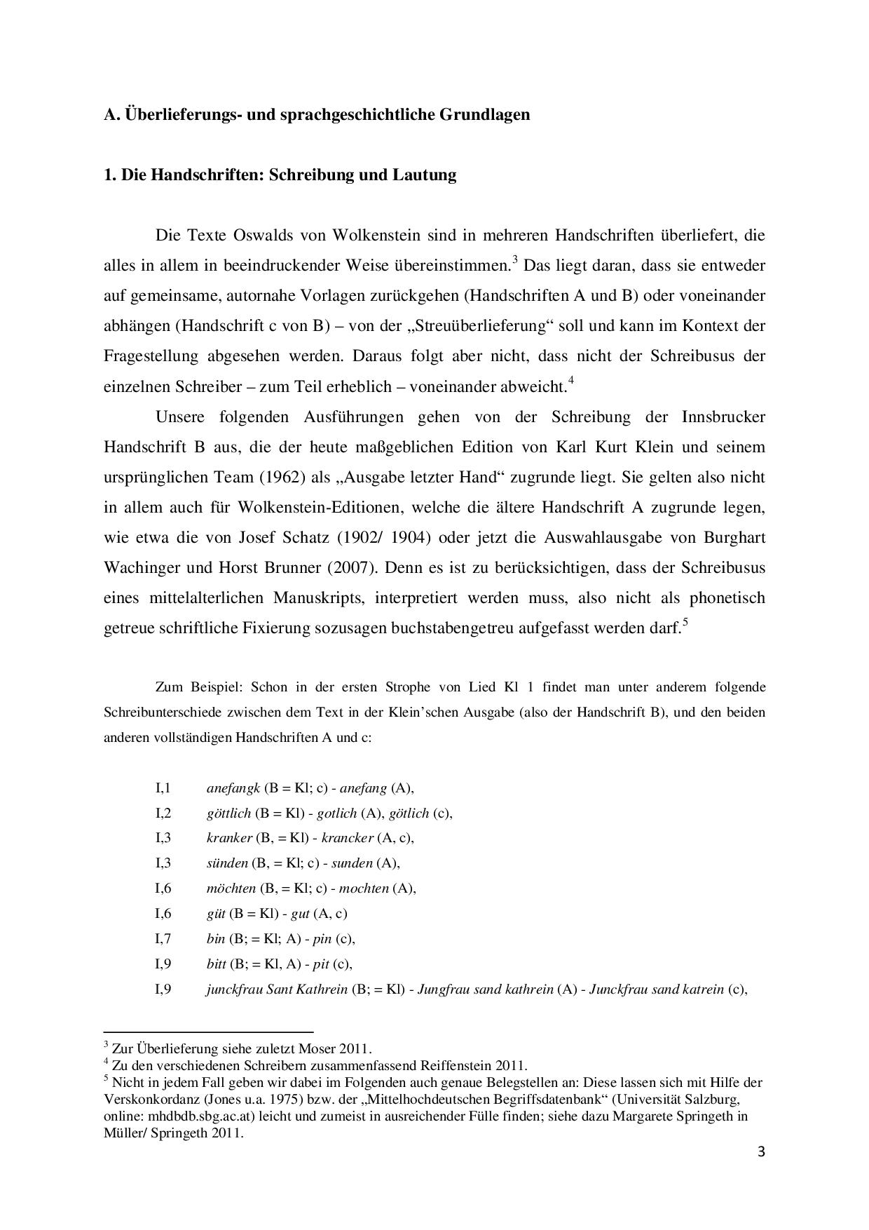 Zur Heutigen Aussprache Der Texte Oswalds Von Wolkenstein Docsity