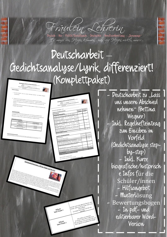 Deutscharbeit Lyrik Gedichtsanalyse Losung Bewertungsbogen Differenziertes Angebot Komplettpa Gedicht Analyse Lyrik Arbeit