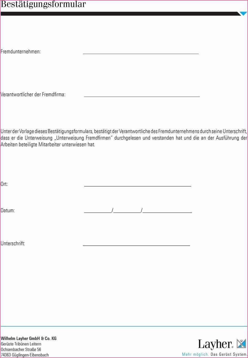 Nett Unterweisung Fremdfirmen Vorlage Unterweisung Vorlagen