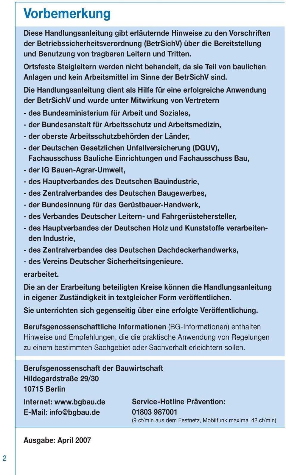 694 Bg Information Handlungsanleitung Fur Den Umgang Mit Leitern Und Tritten Pdf Kostenfreier Download