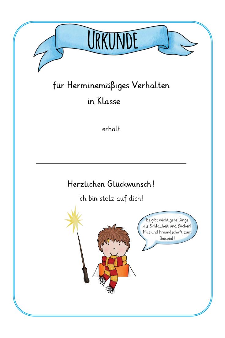 Urkunden Zum Jahresabschluss Im Harry Potter Style Unterrichtsmaterial Im Fach Fachubergreifendes Urkunde Harry Potter Style Jahresabschluss