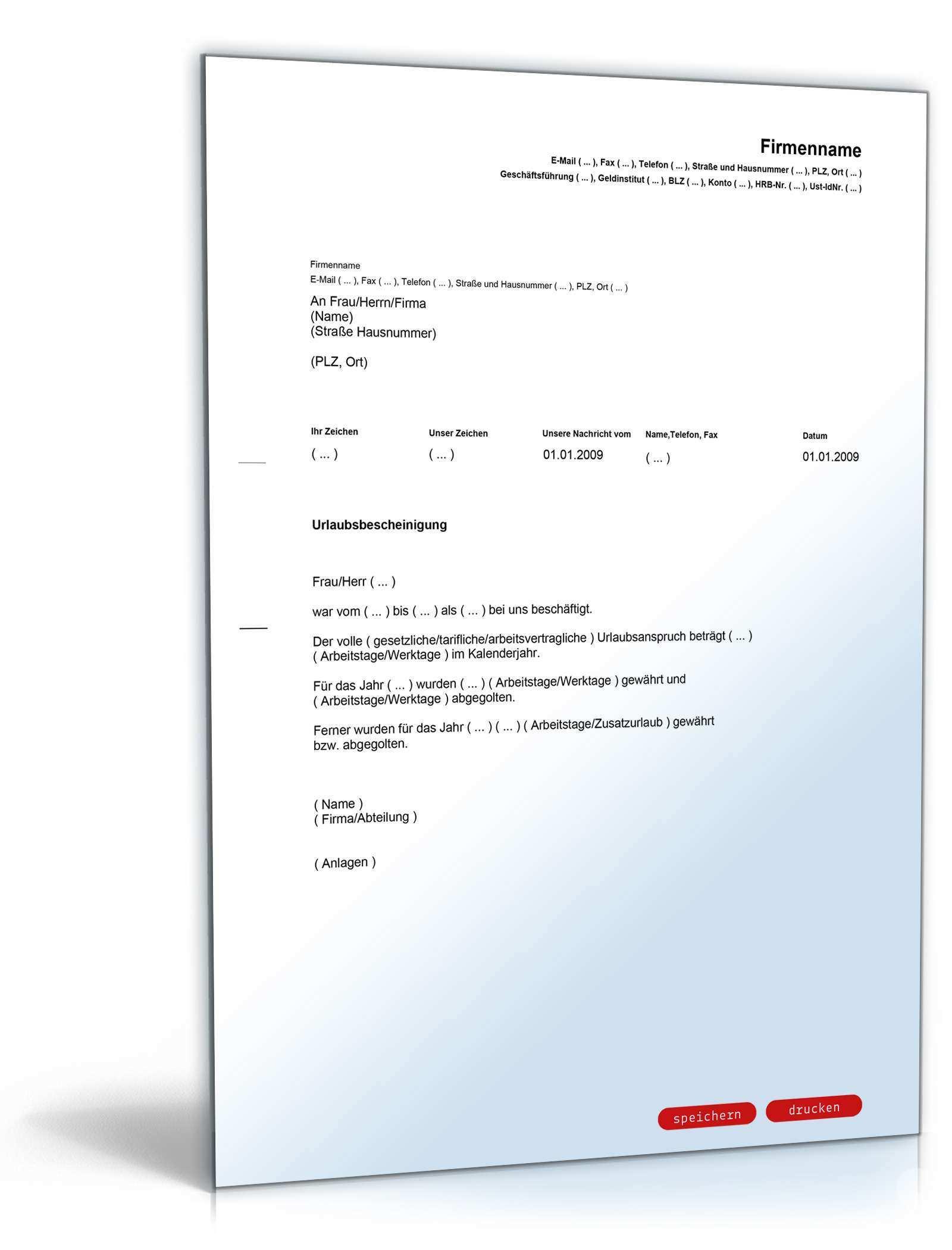 Urlaubsbescheinigung Arbeitgeber Vorlage Zum Download