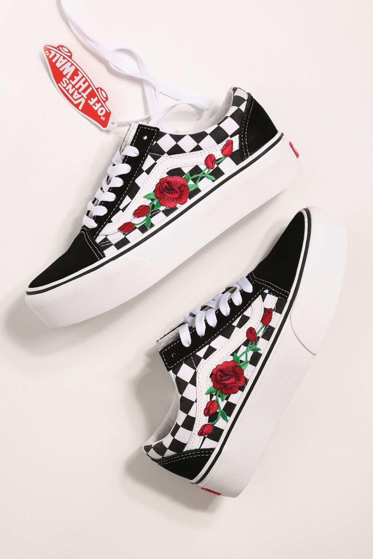 Custom Rose Vans Platform Checkered Old Skool Custom Vans Shoes Rose Vans Sneakers Fashion Outfits