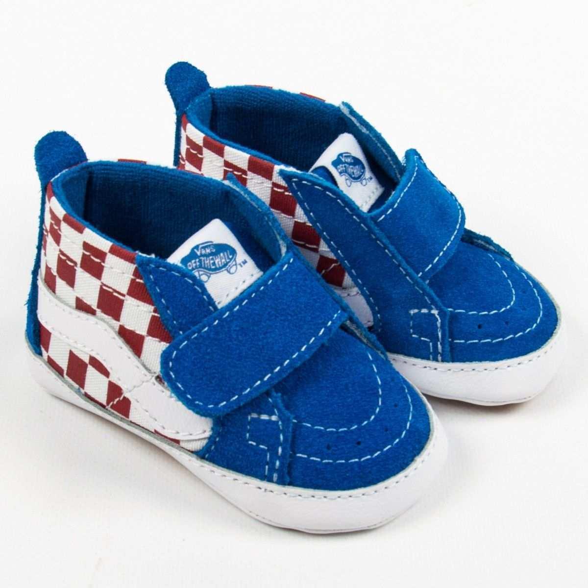 Vans Sk8 Hi Crib Blaue Sneakers Mit Rotem Checkerboard Muster Vans Checkerboard Vans Sk8 Baby Shoes