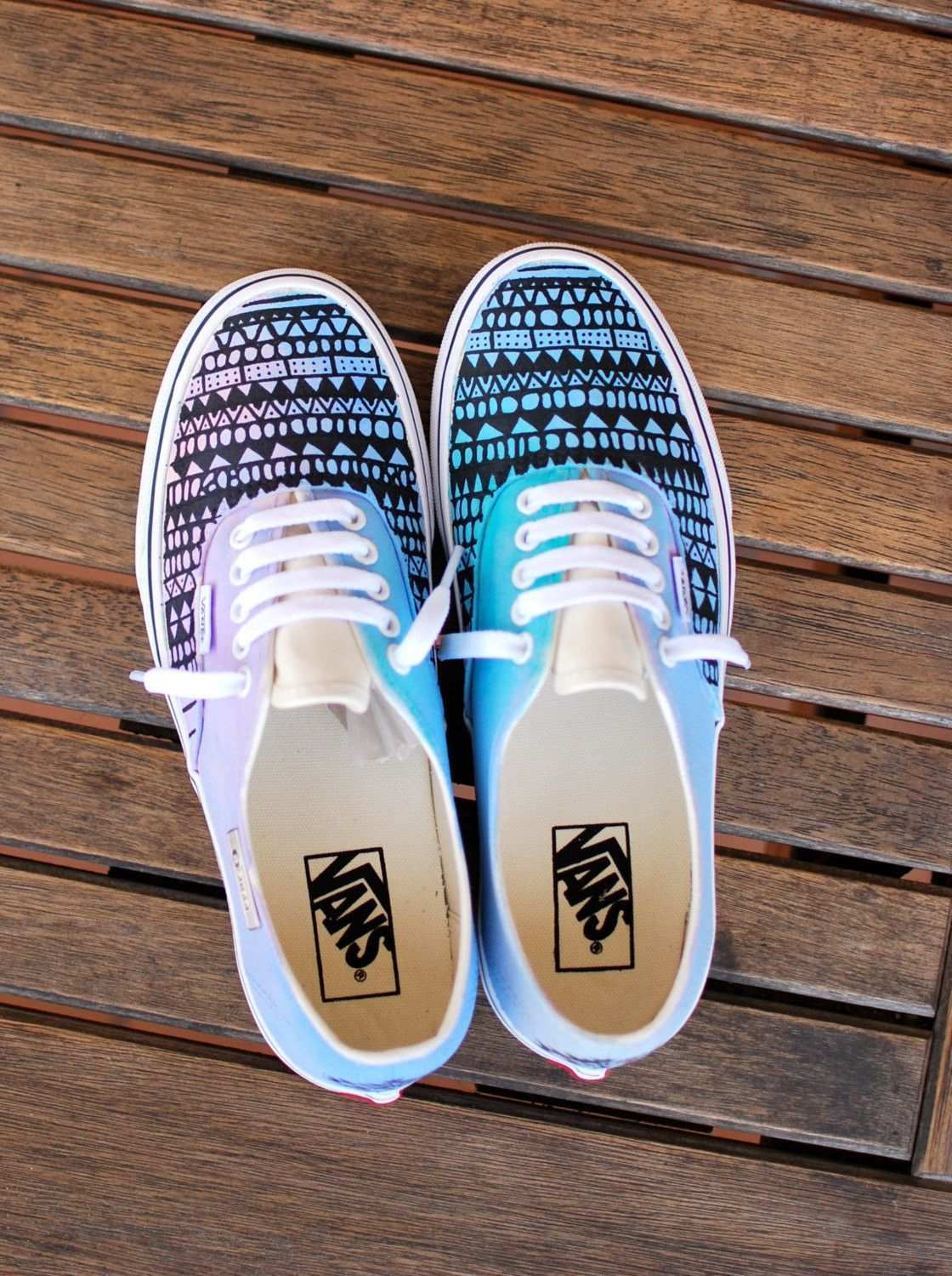 Custom Hand Painted Pastel Tribal Vans Authentic By Bstreetshoes Painted Shoes Canvas Shoes Vans Authentic Shoes