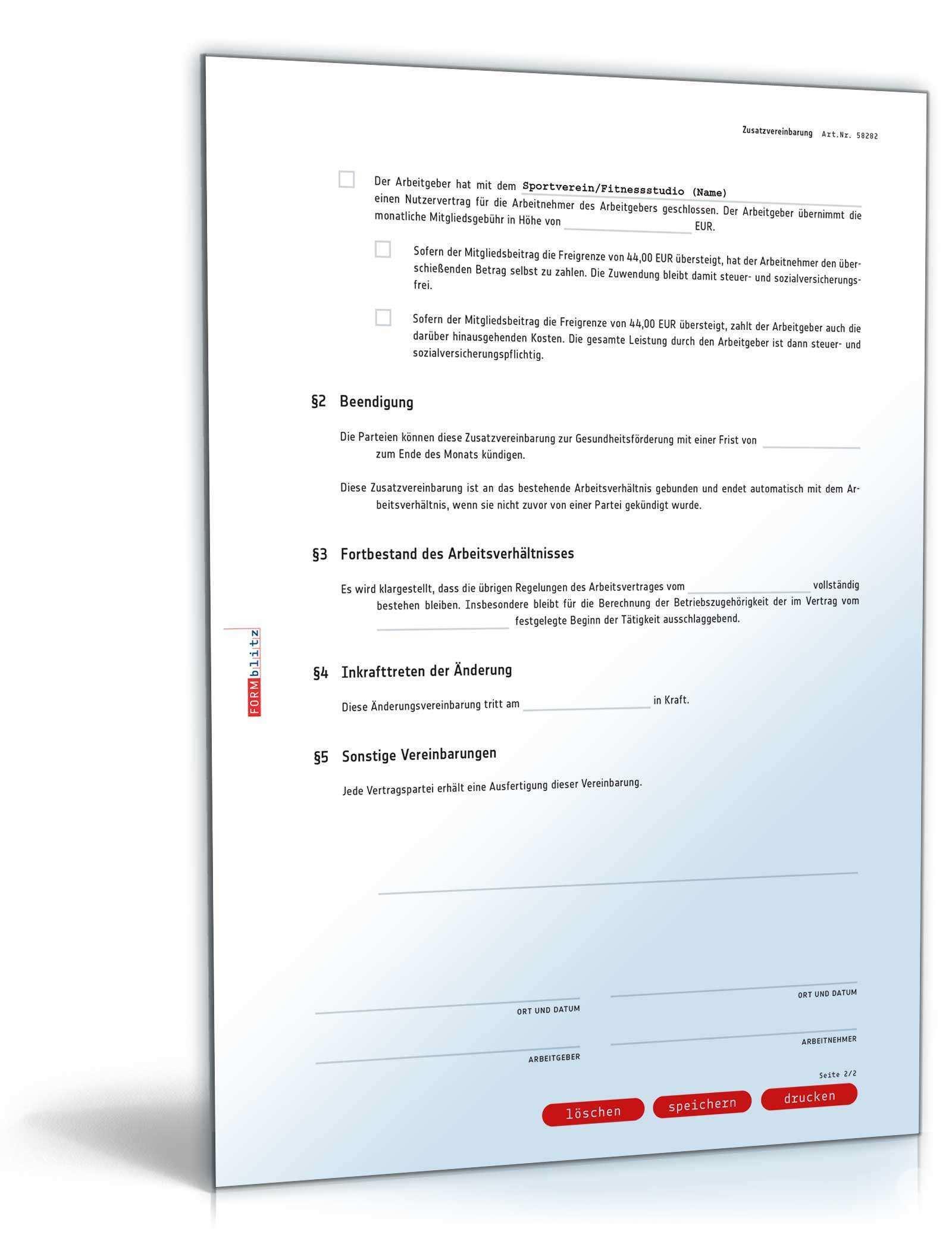 Zusatzvereinbarung Zur Gesundheitsforderung Muster Vorlage Zum Download