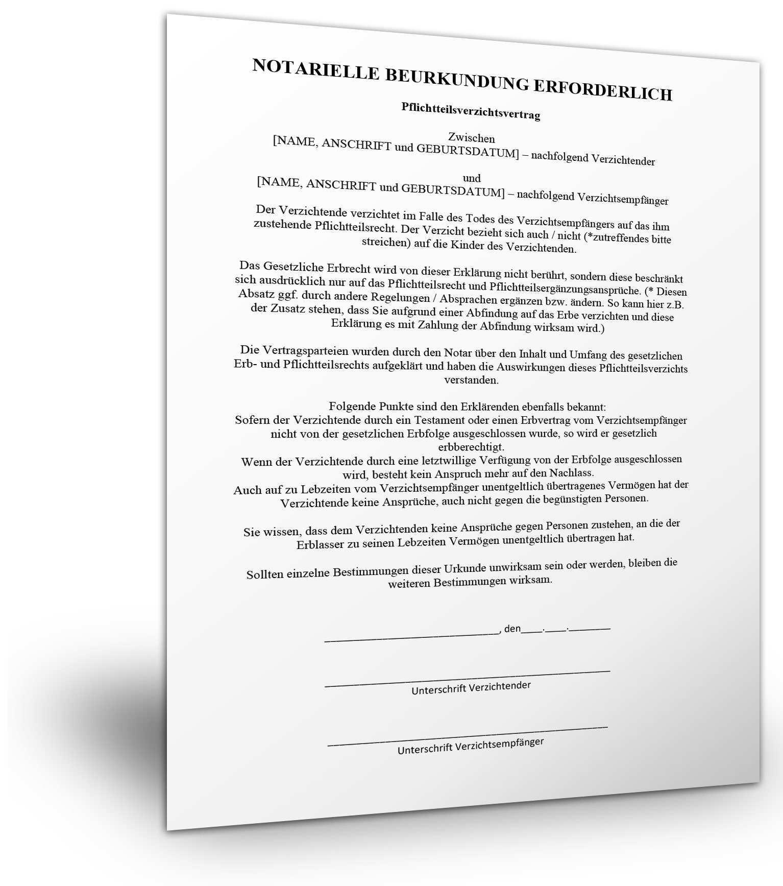 Vereinbarung Ueber Auszahlung Pflichtteil Muster