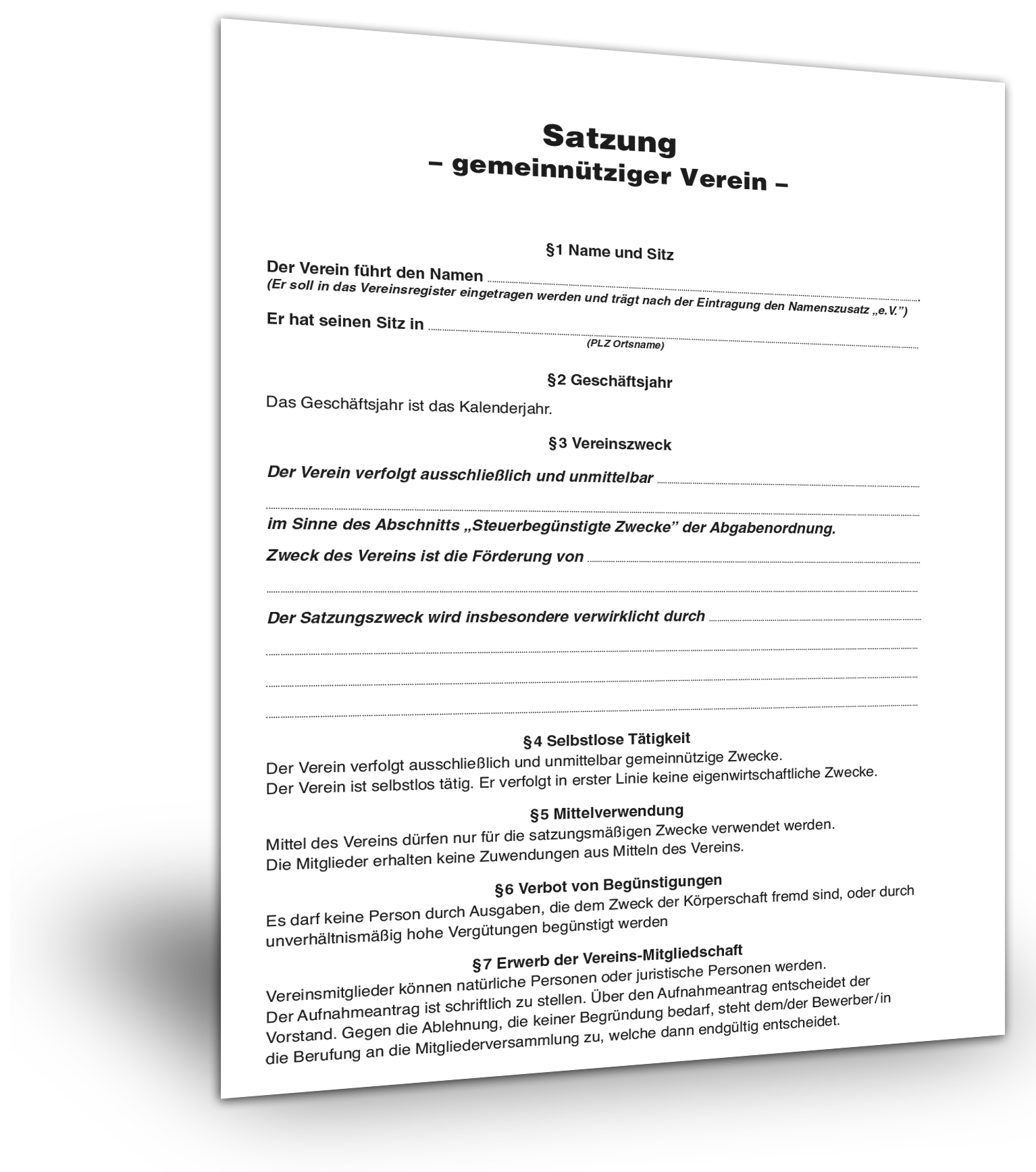 Satzung Gemeinnutziger Verein Muster Kostenlos