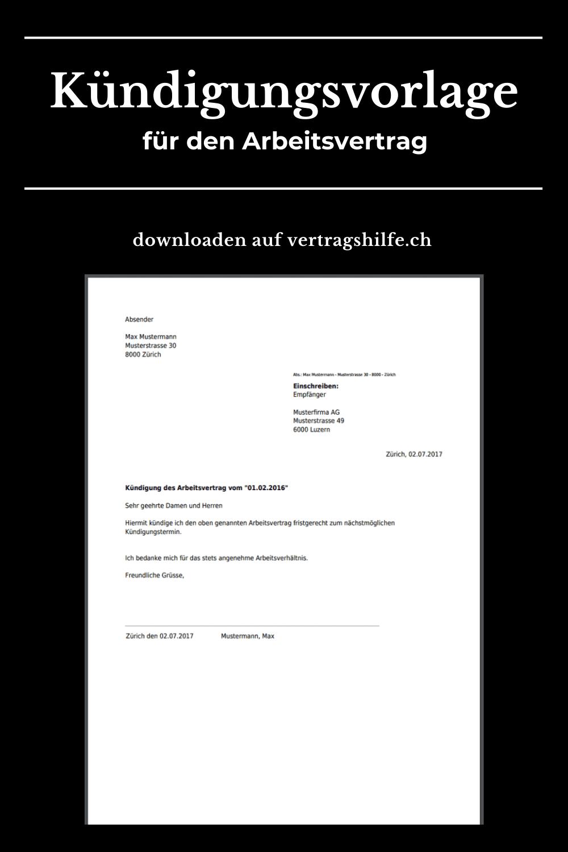Arbeitsvertrag Kundigen Vorlage Zum Bearbeiten Und Downloaden Kundigung Kundigung Schreiben Kundigung Arbeitsvertrag
