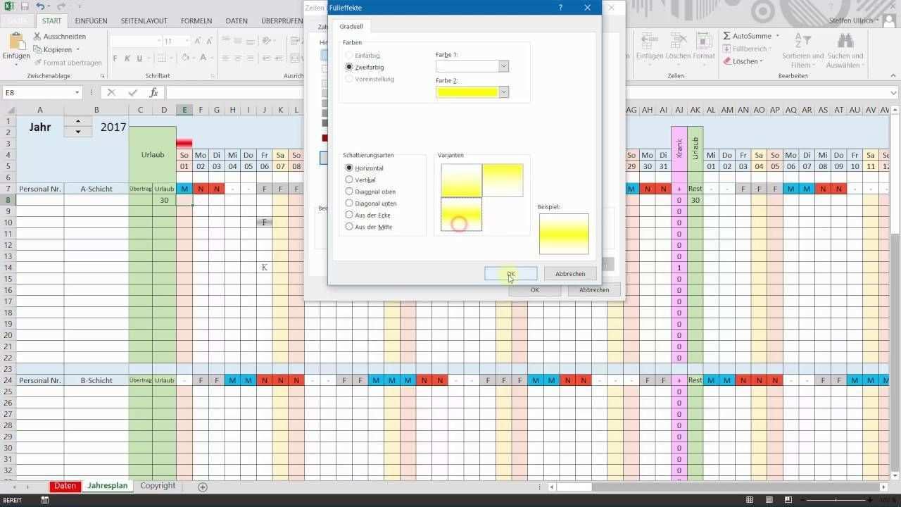 Excel Schichtplan Erstellen Teil 8 Bedingte Formatierung Schichtplan Erstellen Planer Anleitungen
