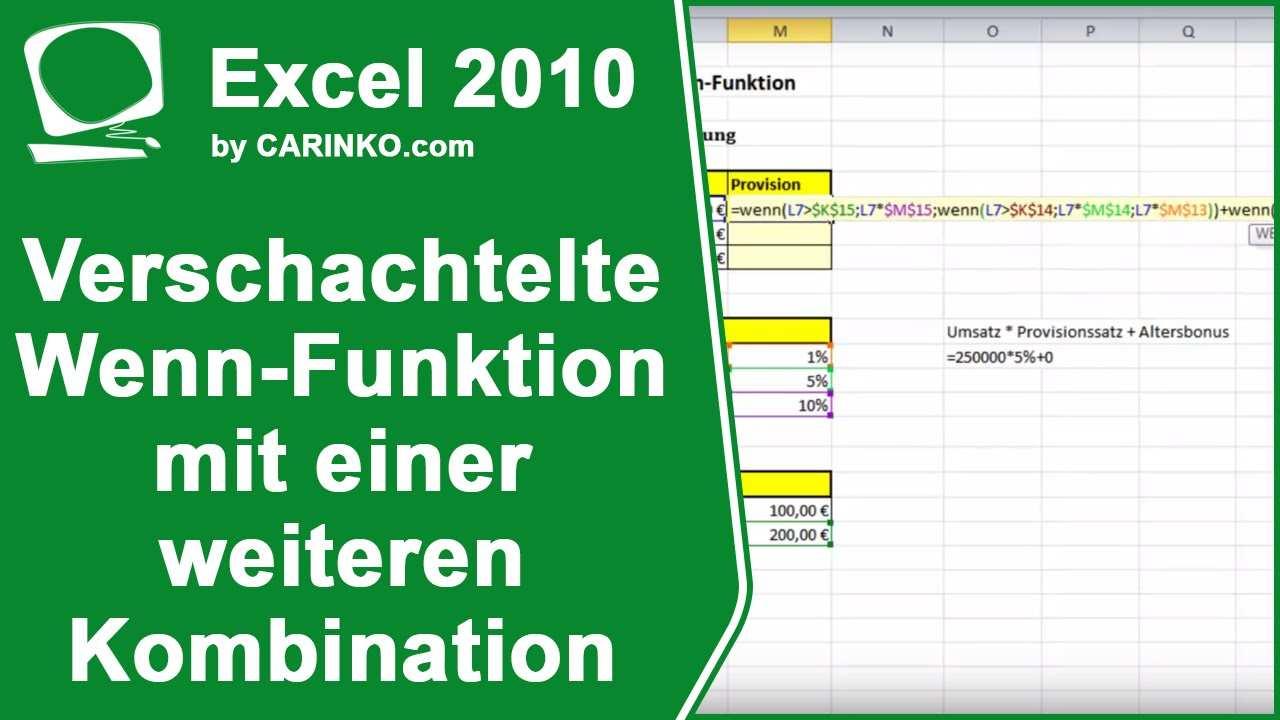 Excel 2010 Verschachtelte Wenn Funktion Mit Einer Weiteren Kombination Carinko Com Youtube