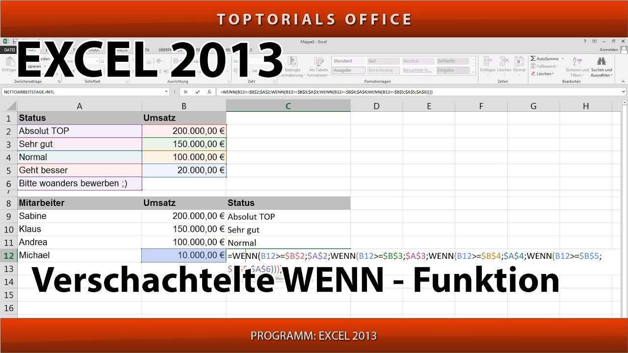 Verschachtelte Wenn Funktion Ganz Einfach Excel Youtube