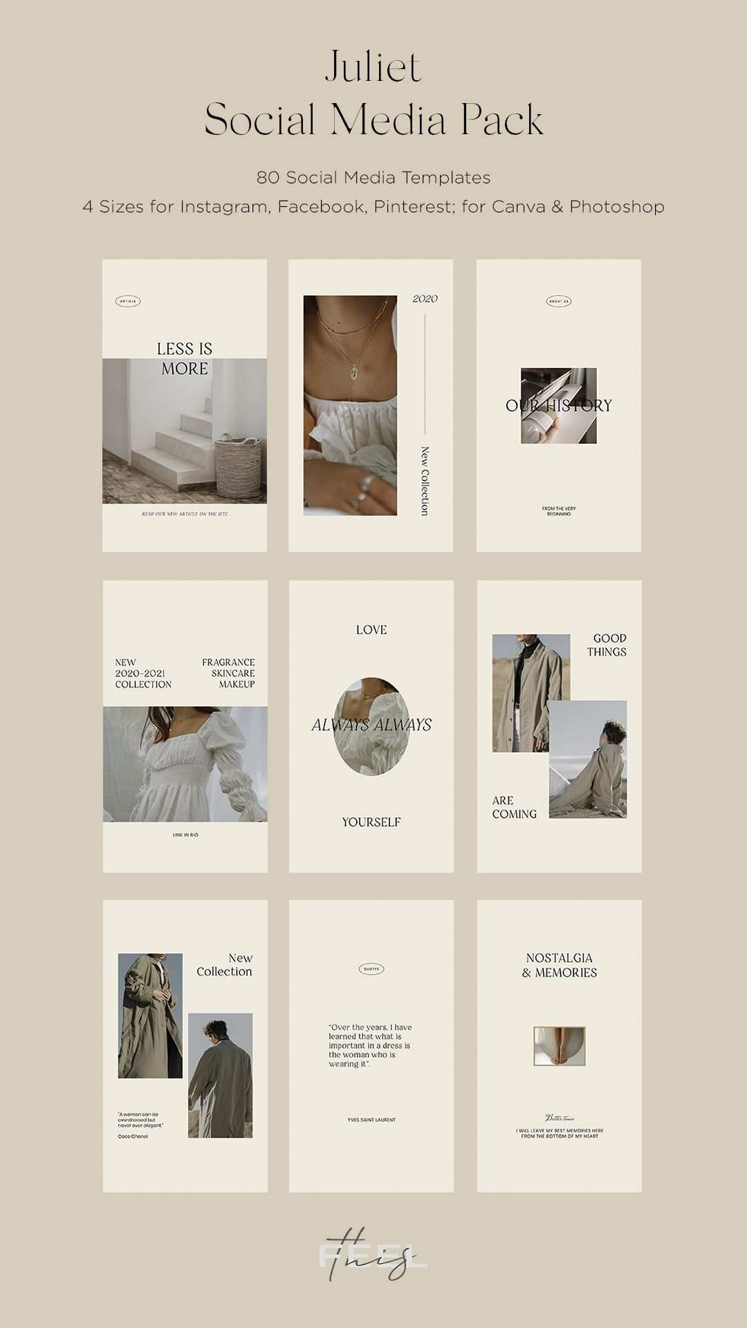 Juliet Social Media Pack Canva Ps Instagram Template Design Social Media Design Inspiration Instagram Design