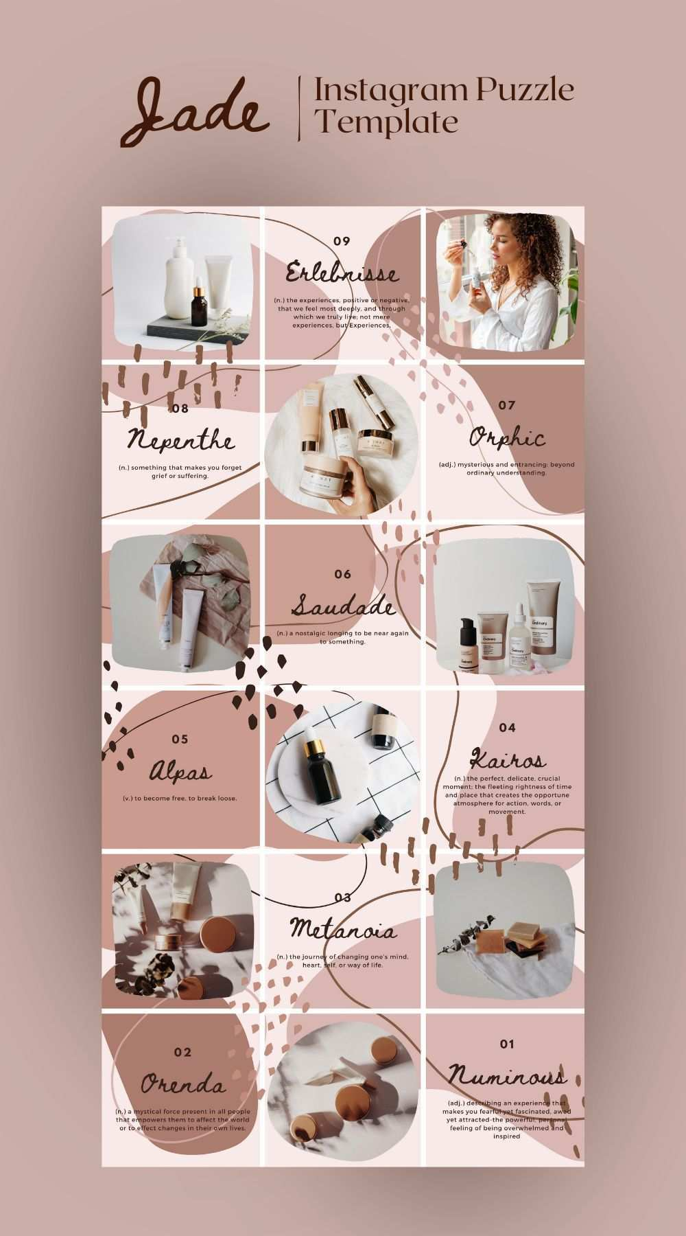Instagram Puzzle Template For Brands And Bloggers Jade Canva Template For Instagram Instagram Grid Brand And Blog Template Instagram Feed Planner Instagram Template Design Instagram Feed Layout