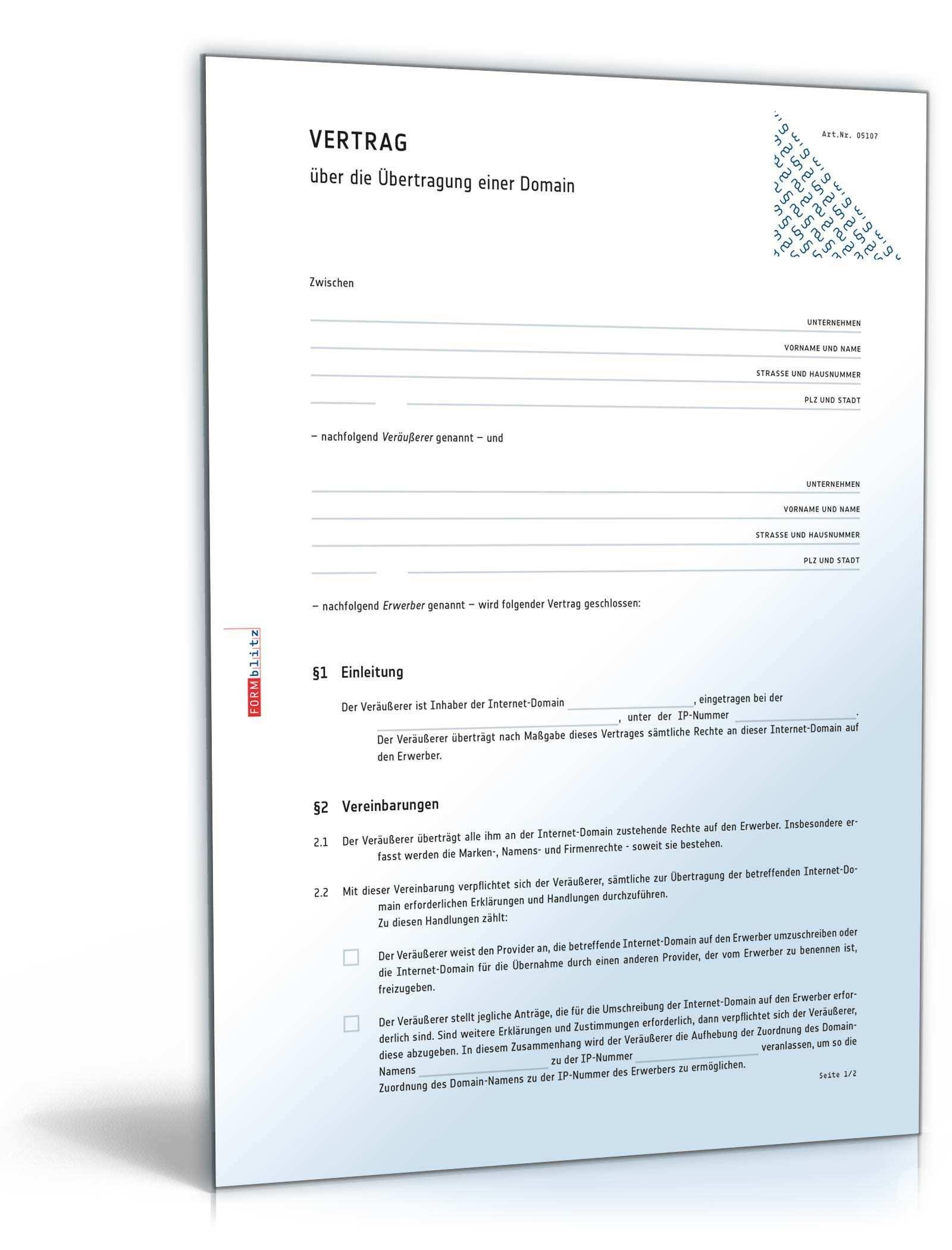 Domain Ubertragungsvertrag Rechtssicheres Muster Zum Download