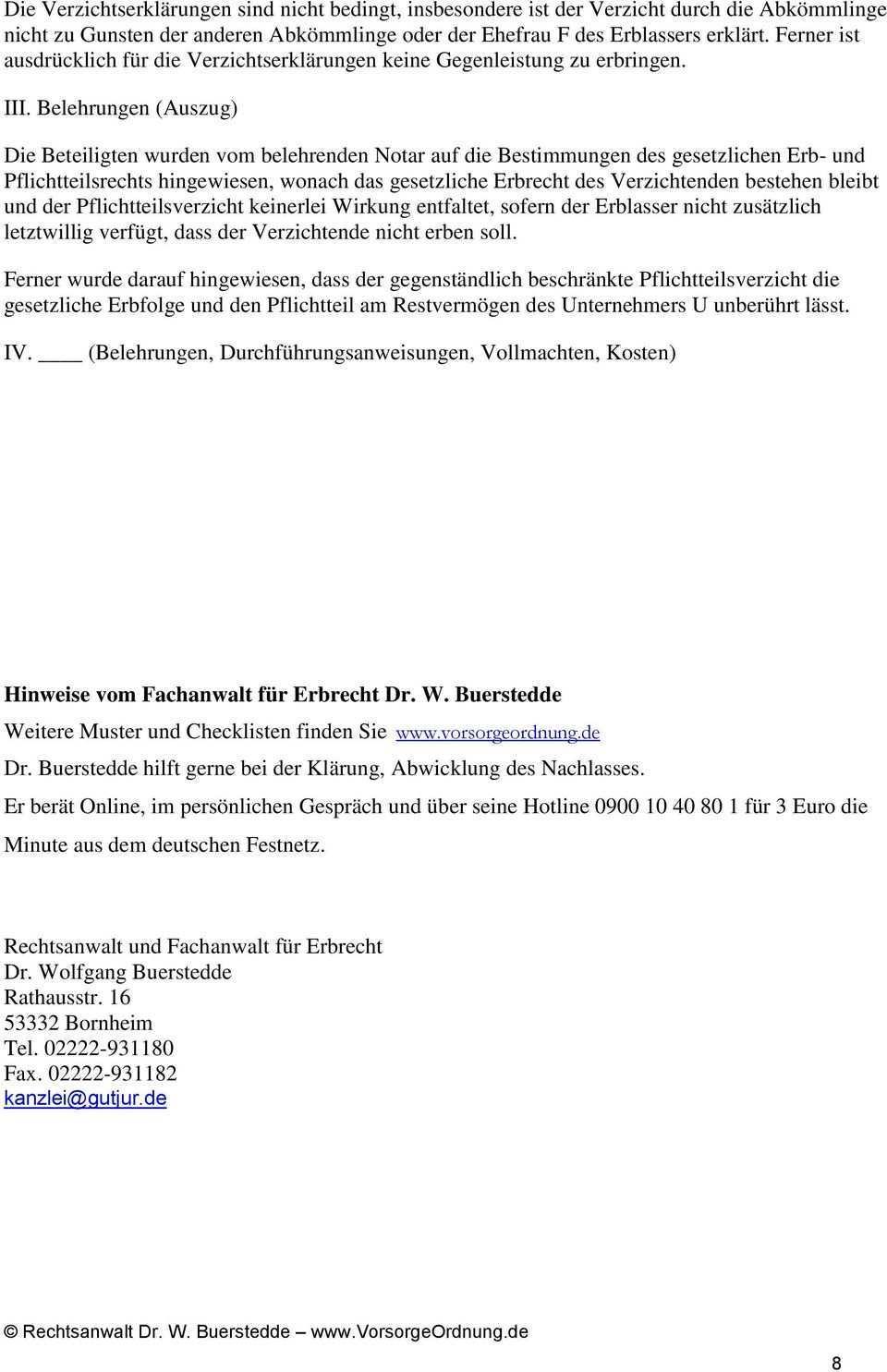 Der Erbverzicht Fuhrt Zu Einer Erhohung Der Pflichtteilsrecht Der Ubrigen Nicht Rechtsanwalt Dr W Buerstedde Www Vorsorgeordnung Pdf Free Download