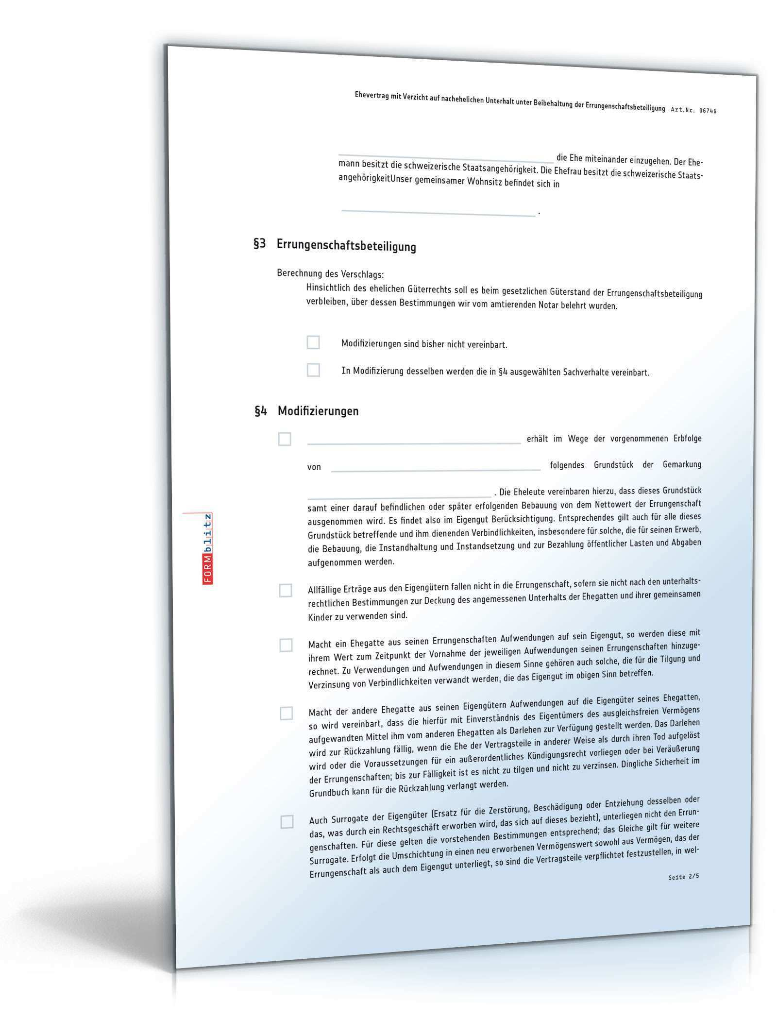Ehevertrag Verzicht Auf Nachehelichen Unterhalt Beibehaltung Errungenschaftsbeteiligung Muster Vorlage Zum Download