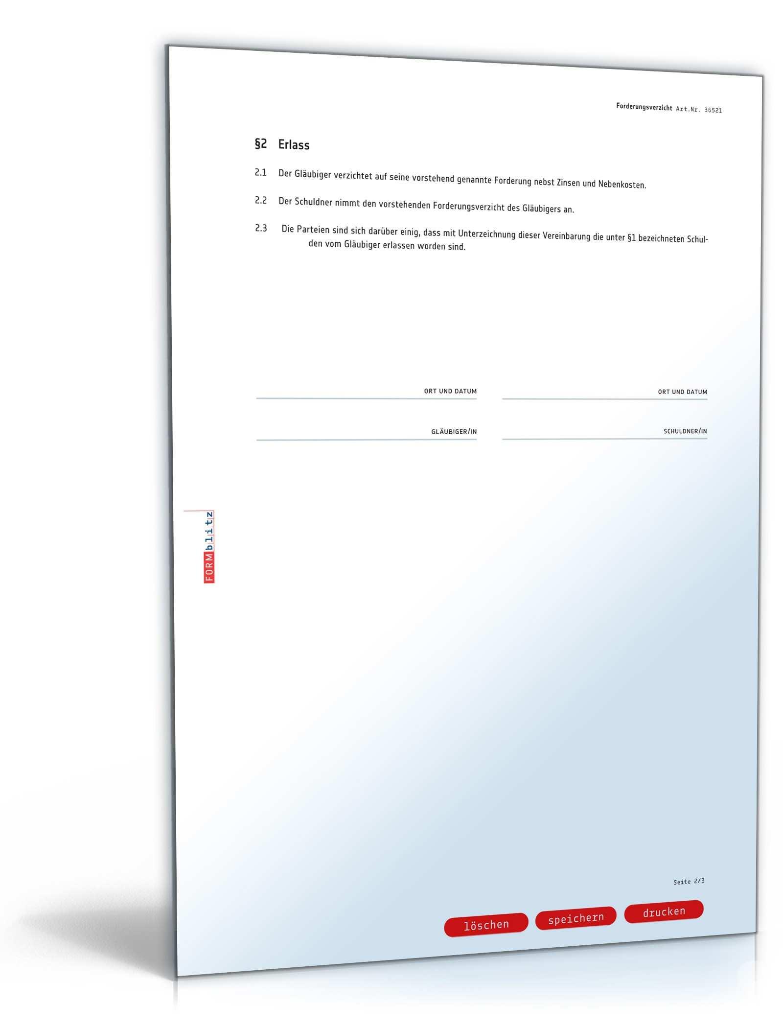 Forderungsverzicht Mit Erlassvertrag Muster Zum Download