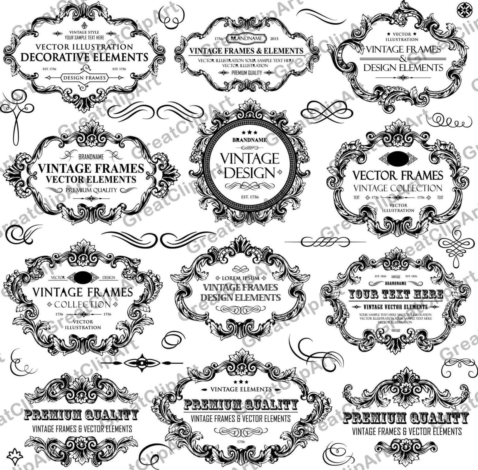 31 Vintage Rahmen Und Ornament Ornament Clipart Hochzeit Einladung Clipart Set Floralen Rahmen Verzieren Einladun Vintage Frames Custom Nursery Art Clip Art
