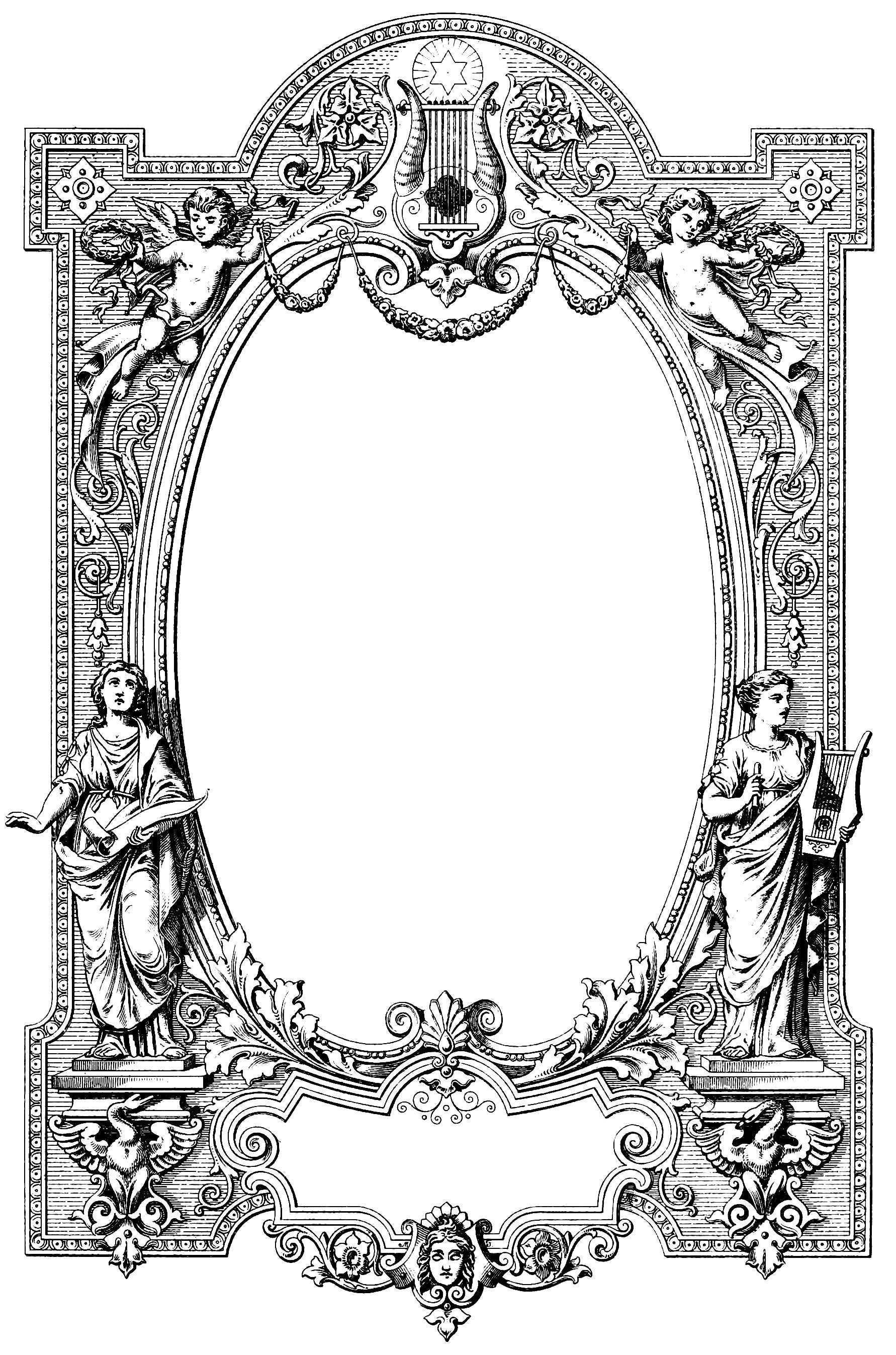 Vgosn Vintage Clip Art Border Illustration Jpg Jpeg Image 1782 2694 Pixels Scaled 25 Vintage Clipart Strichzeichnung Linienzuge