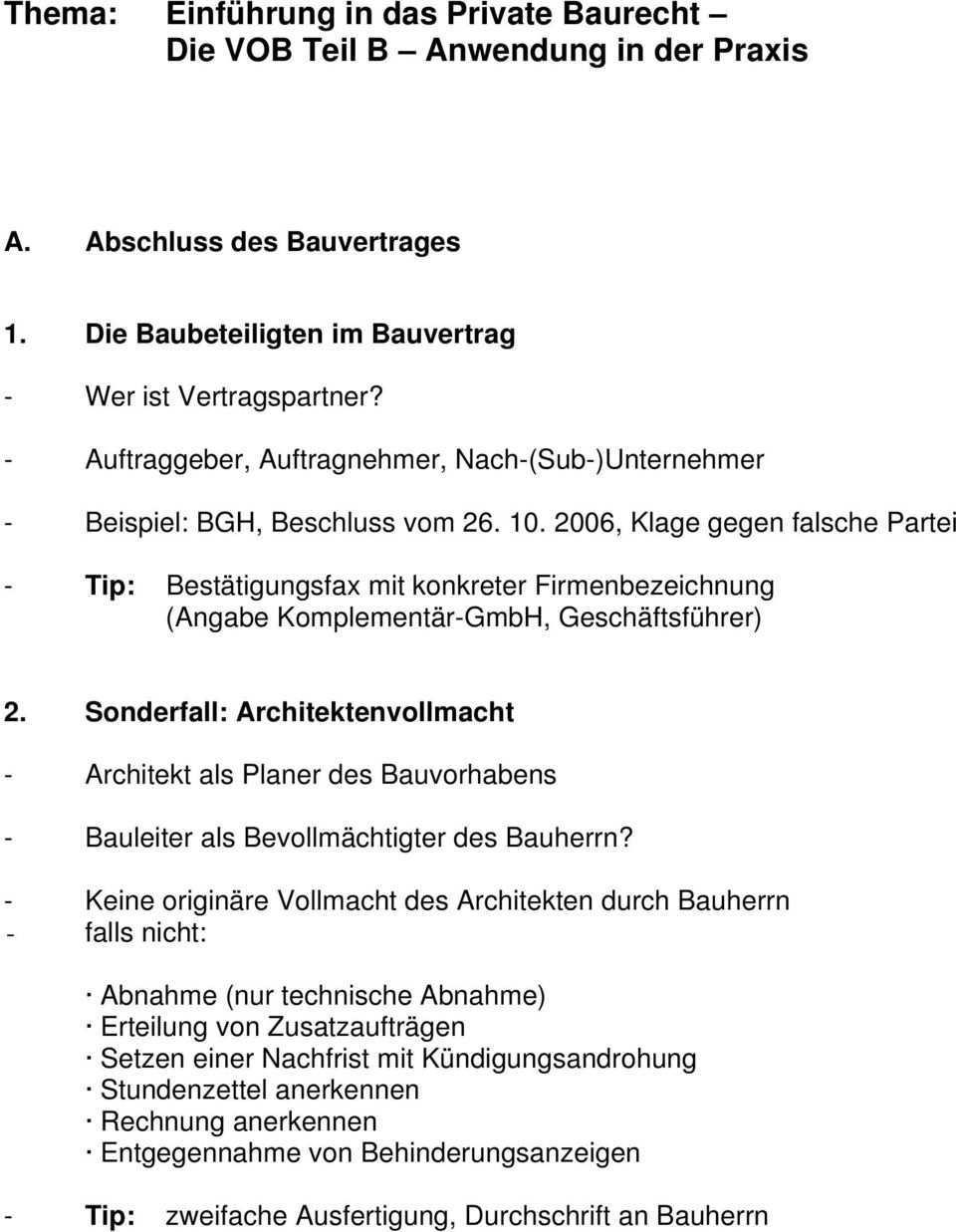 Thema Einfuhrung In Das Private Baurecht Die Vob Teil B Anwendung In Der Praxis Pdf Kostenfreier Download