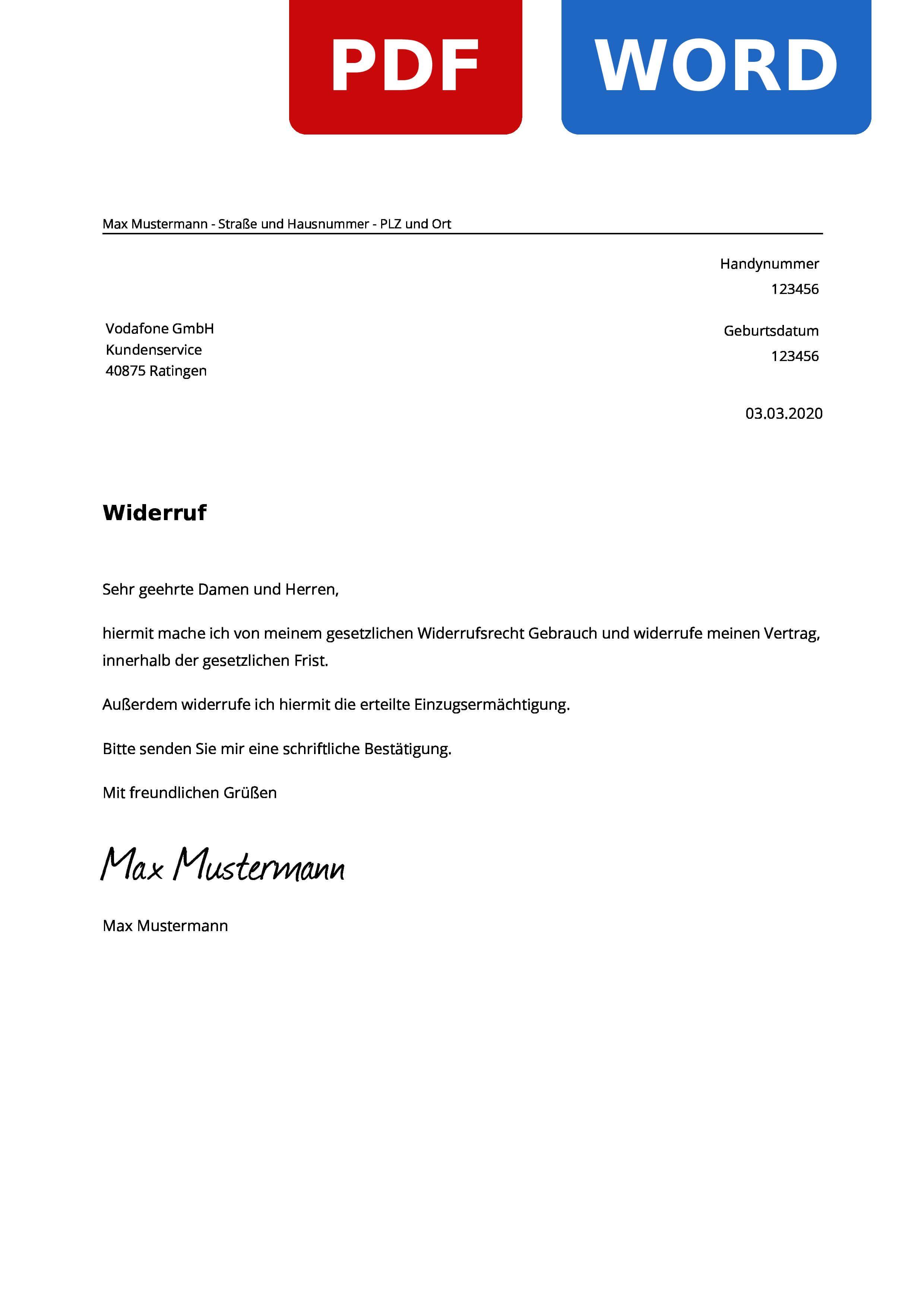 Vodafone Widerruf Widerrufsrecht Widerrufsfrist Widerrufsformular